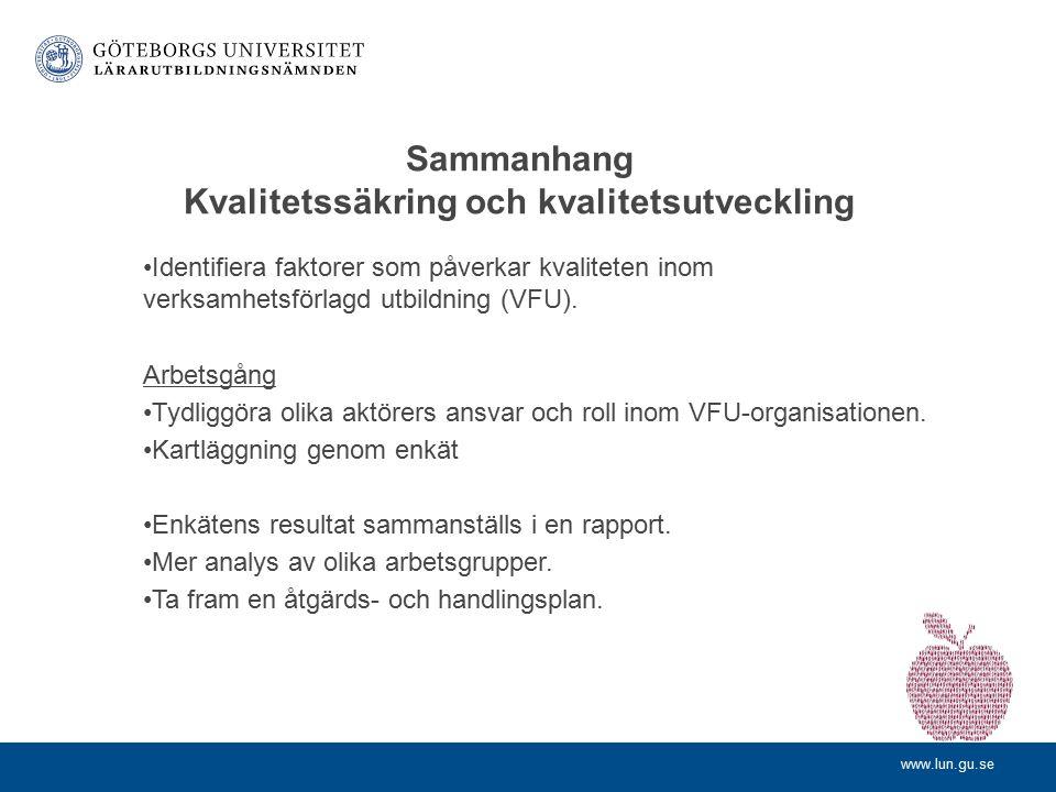 www.lun.gu.se Enkät LLU 2013 Genomförd april–maj 2013 Distribuerad till: ca 1700 lokala lärarutbildare verksamma inom både LP01 och LP11 Svarsfrekvens