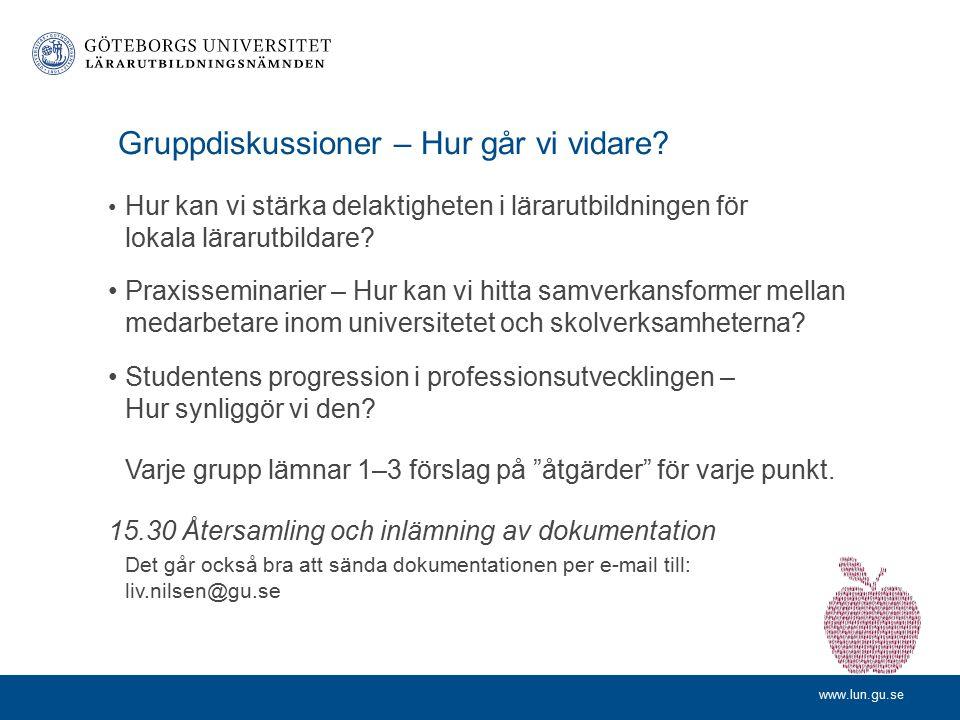 www.lun.gu.se Progression i VFU-kurser inom Ämneslärarprogrammet Julieta Lodeiro Institutionen för pedagogik och specialpedagogik Klas Andersson Stats