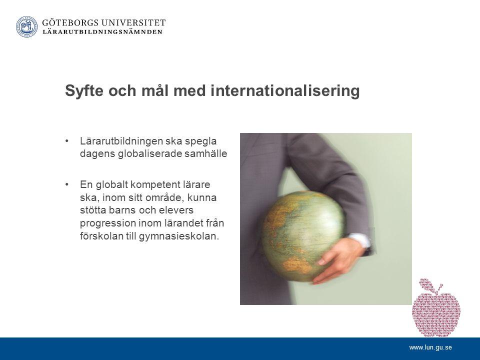 www.lun.gu.se internationalisering inom lärarutbildningen Lotta Huldén, LUN