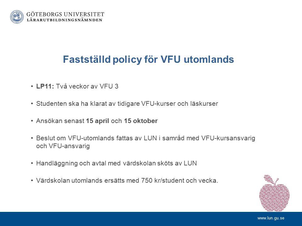 www.lun.gu.se Andel examinerade som studerat utomlands, lärarexamen, respektive annan examen (nationellt)