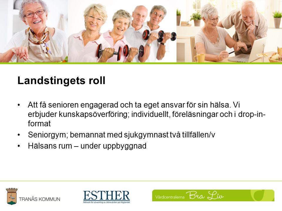Landstingets roll Att få senioren engagerad och ta eget ansvar för sin hälsa. Vi erbjuder kunskapsöverföring; individuellt, föreläsningar och i drop-i