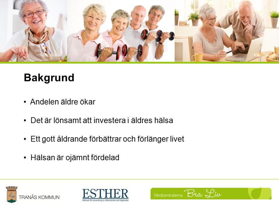 Uppföljning Bakgrund Andelen äldre ökar Det är lönsamt att investera i äldres hälsa Ett gott åldrande förbättrar och förlänger livet Hälsan är ojämnt