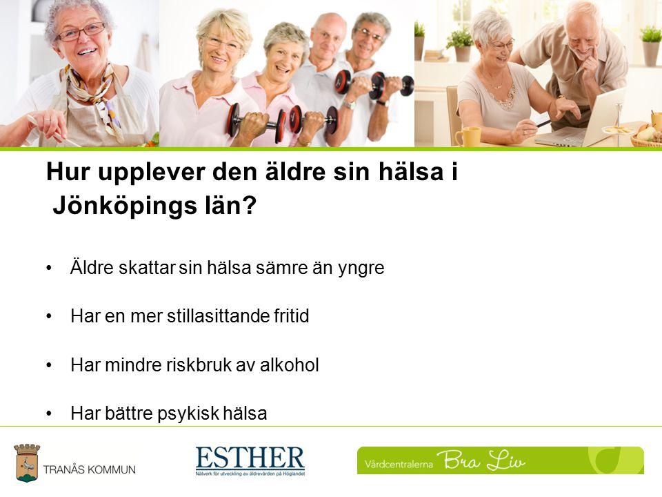 Hur upplever den äldre sin hälsa i Jönköpings län? Äldre skattar sin hälsa sämre än yngre Har en mer stillasittande fritid Har mindre riskbruk av alko