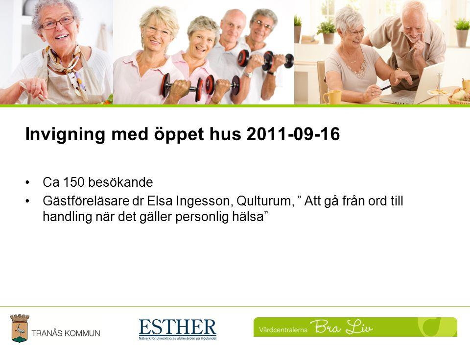 """Invigning med öppet hus 2011-09-16 Ca 150 besökande Gästföreläsare dr Elsa Ingesson, Qulturum, """" Att gå från ord till handling när det gäller personli"""