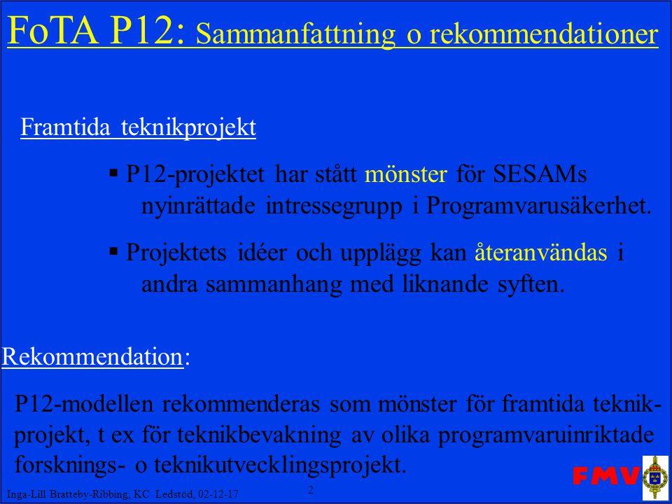 2 Inga-Lill Bratteby-Ribbing, KC Ledstöd, 02-12-17 FoTA P12: Sammanfattning o rekommendationer Framtida teknikprojekt  P12-projektet har stått mönster för SESAMs nyinrättade intressegrupp i Programvarusäkerhet.