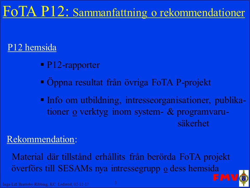3 Inga-Lill Bratteby-Ribbing, KC Ledstöd, 02-12-17 FoTA P12: Sammanfattning o rekommendationer P12 hemsida  P12-rapporter  Öppna resultat från övriga FoTA P-projekt  Info om utbildning, intresseorganisationer, publika-...tioner o verktyg inom system- & programvaru- säkerhet Rekommendation: Material där tillstånd erhållits från berörda FoTA projekt..överförs till SESAMs nya intressegrupp o dess hemsida
