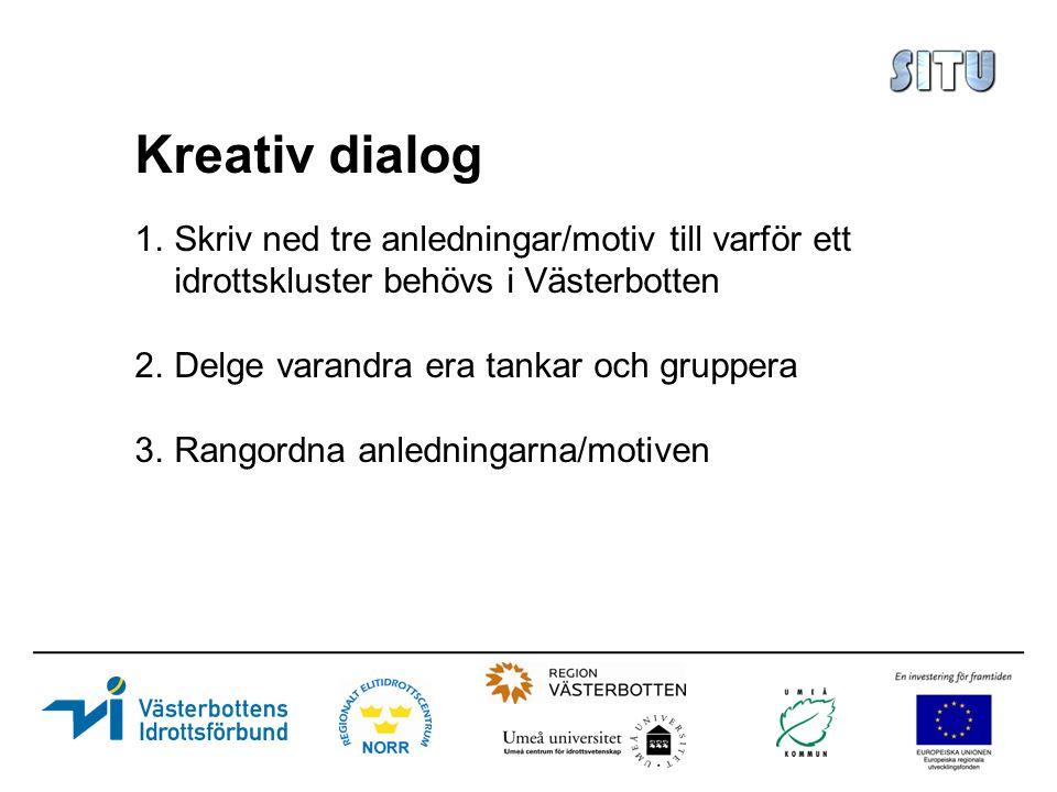 Kreativ dialog 1.Skriv ned tre anledningar/motiv till varför ett idrottskluster behövs i Västerbotten 2.Delge varandra era tankar och gruppera 3.Rangordna anledningarna/motiven