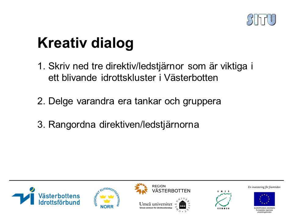Kreativ dialog 1.Skriv ned tre direktiv/ledstjärnor som är viktiga i ett blivande idrottskluster i Västerbotten 2.Delge varandra era tankar och gruppera 3.Rangordna direktiven/ledstjärnorna