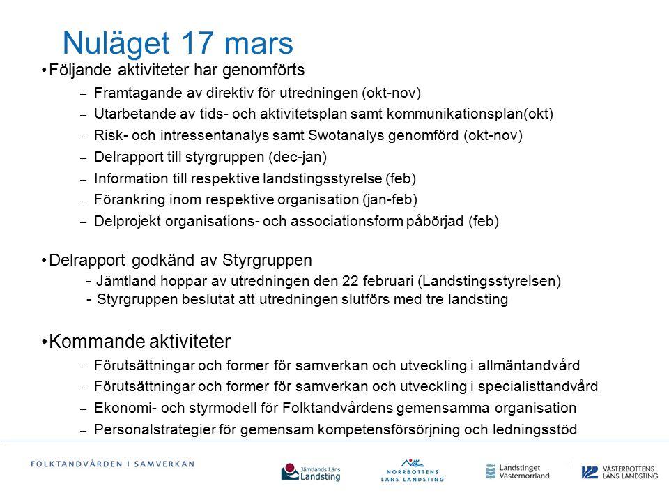 Nuläget 17 mars Följande aktiviteter har genomförts – Framtagande av direktiv för utredningen (okt-nov) – Utarbetande av tids- och aktivitetsplan samt