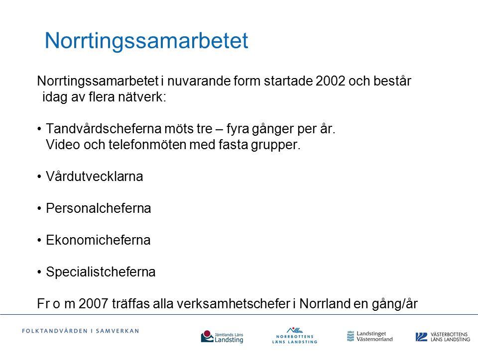 Norrtingssamarbetet Norrtingssamarbetet i nuvarande form startade 2002 och består idag av flera nätverk: Tandvårdscheferna möts tre – fyra gånger per
