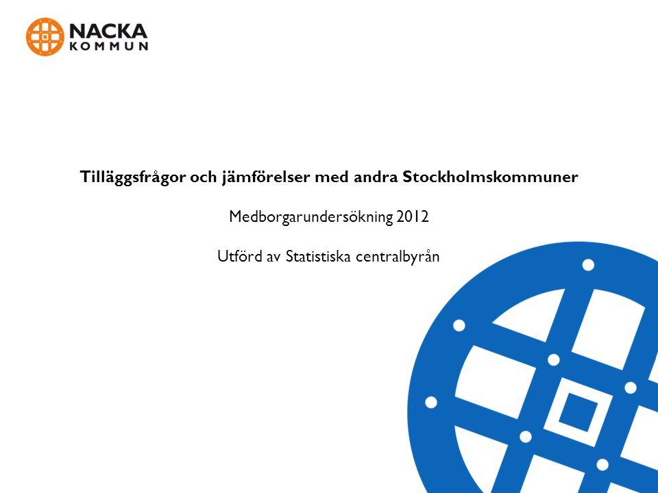 Tilläggsfrågor och jämförelser med andra Stockholmskommuner Medborgarundersökning 2012 Utförd av Statistiska centralbyrån