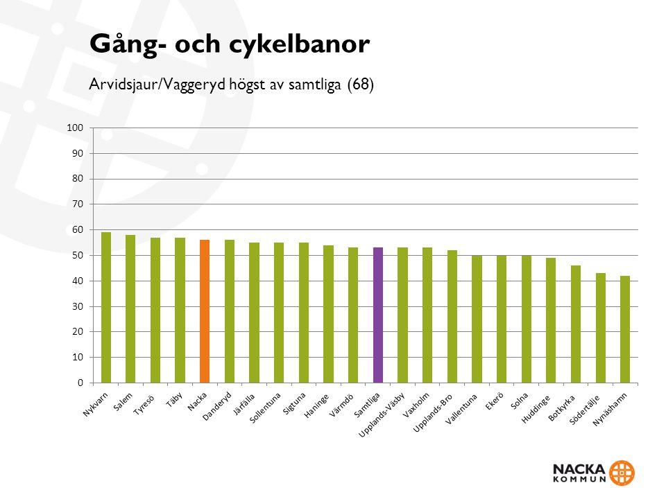 Gång- och cykelbanor Arvidsjaur/Vaggeryd högst av samtliga (68)
