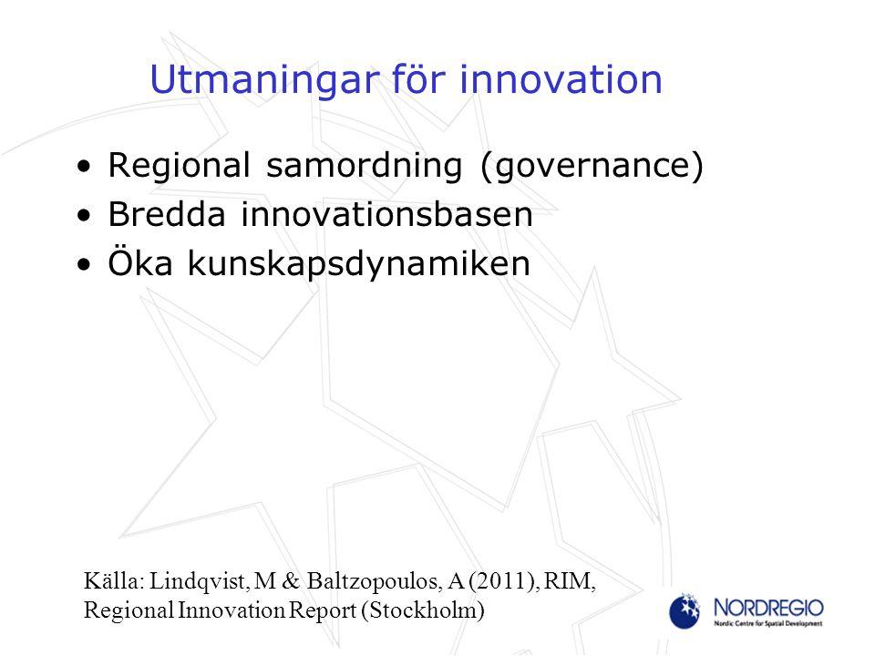 Utmaningar för innovation Regional samordning (governance) Bredda innovationsbasen Öka kunskapsdynamiken Källa: Lindqvist, M & Baltzopoulos, A (2011), RIM, Regional Innovation Report (Stockholm)