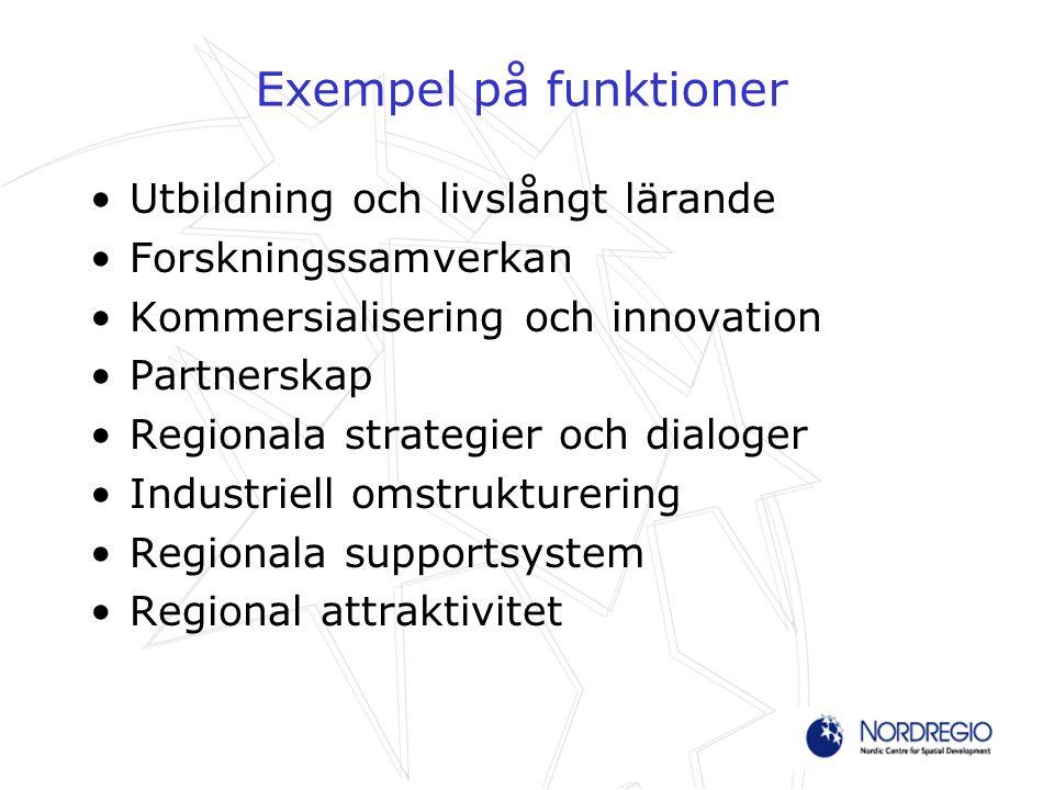 Exempel på funktioner Utbildning och livslångt lärande Forskningssamverkan Kommersialisering och innovation Partnerskap Regionala strategier och dialo