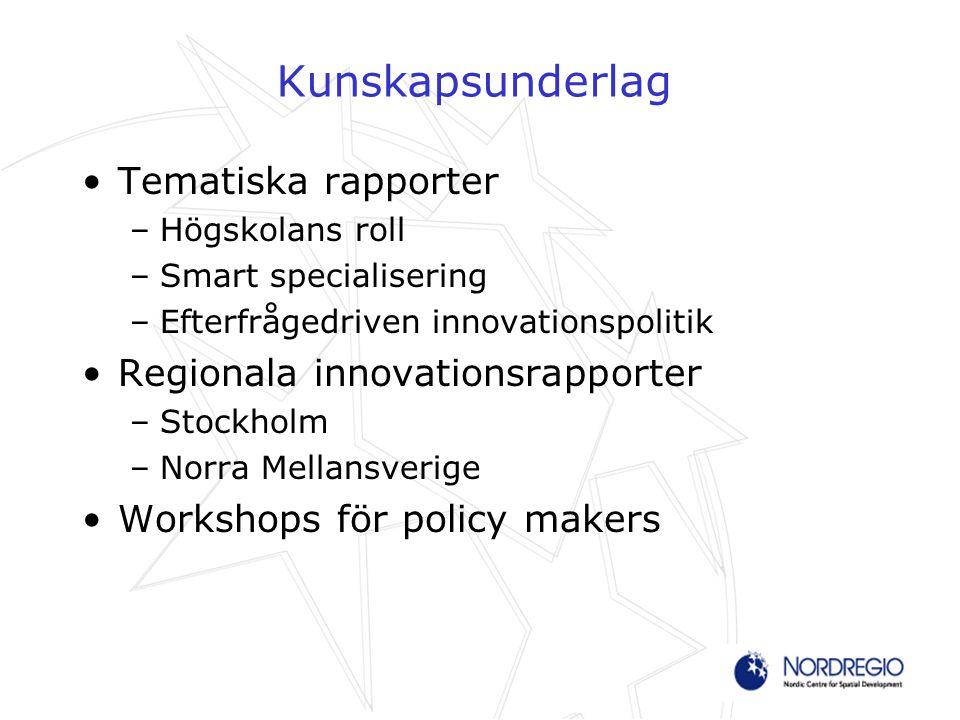 Kunskapsunderlag Tematiska rapporter –Högskolans roll –Smart specialisering –Efterfrågedriven innovationspolitik Regionala innovationsrapporter –Stockholm –Norra Mellansverige Workshops för policy makers