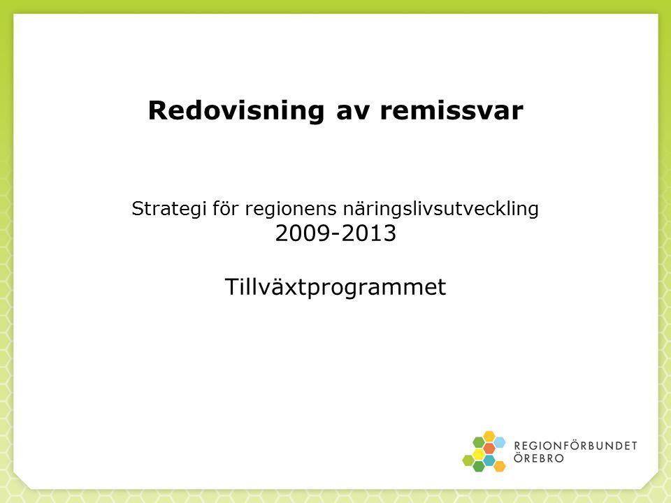 Redovisning av remissvar Strategi för regionens näringslivsutveckling 2009-2013 Tillväxtprogrammet