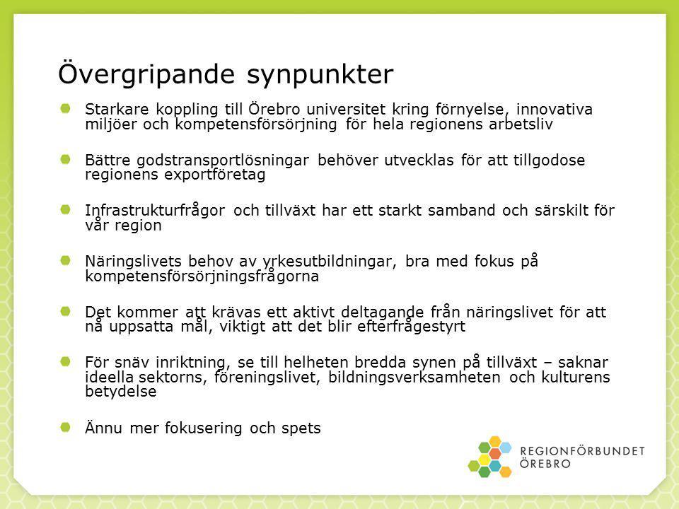 Starkare koppling till Örebro universitet kring förnyelse, innovativa miljöer och kompetensförsörjning för hela regionens arbetsliv Bättre godstransportlösningar behöver utvecklas för att tillgodose regionens exportföretag Infrastrukturfrågor och tillväxt har ett starkt samband och särskilt för vår region Näringslivets behov av yrkesutbildningar, bra med fokus på kompetensförsörjningsfrågorna Det kommer att krävas ett aktivt deltagande från näringslivet för att nå uppsatta mål, viktigt att det blir efterfrågestyrt För snäv inriktning, se till helheten bredda synen på tillväxt – saknar ideella sektorns, föreningslivet, bildningsverksamheten och kulturens betydelse Ännu mer fokusering och spets