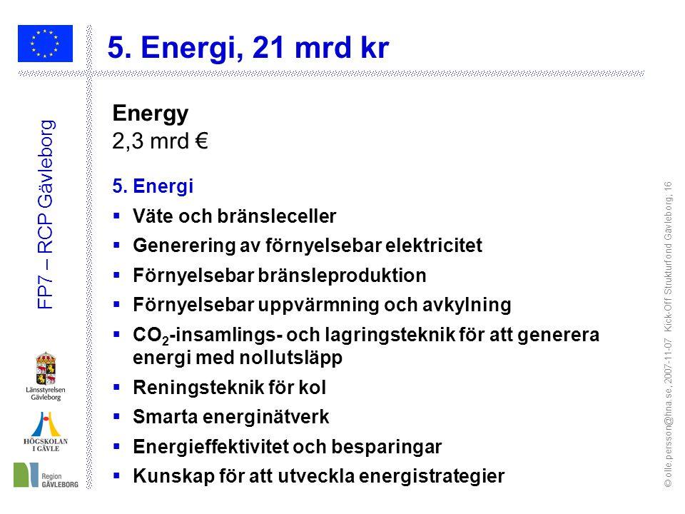 © olle.persson@hna.se, 2007-11-07 Kick-Off Strukturfond Gävleborg; 16 FP7 – RCP Gävleborg 5.
