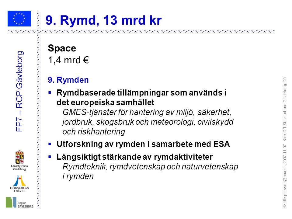 © olle.persson@hna.se, 2007-11-07 Kick-Off Strukturfond Gävleborg; 20 FP7 – RCP Gävleborg 9.