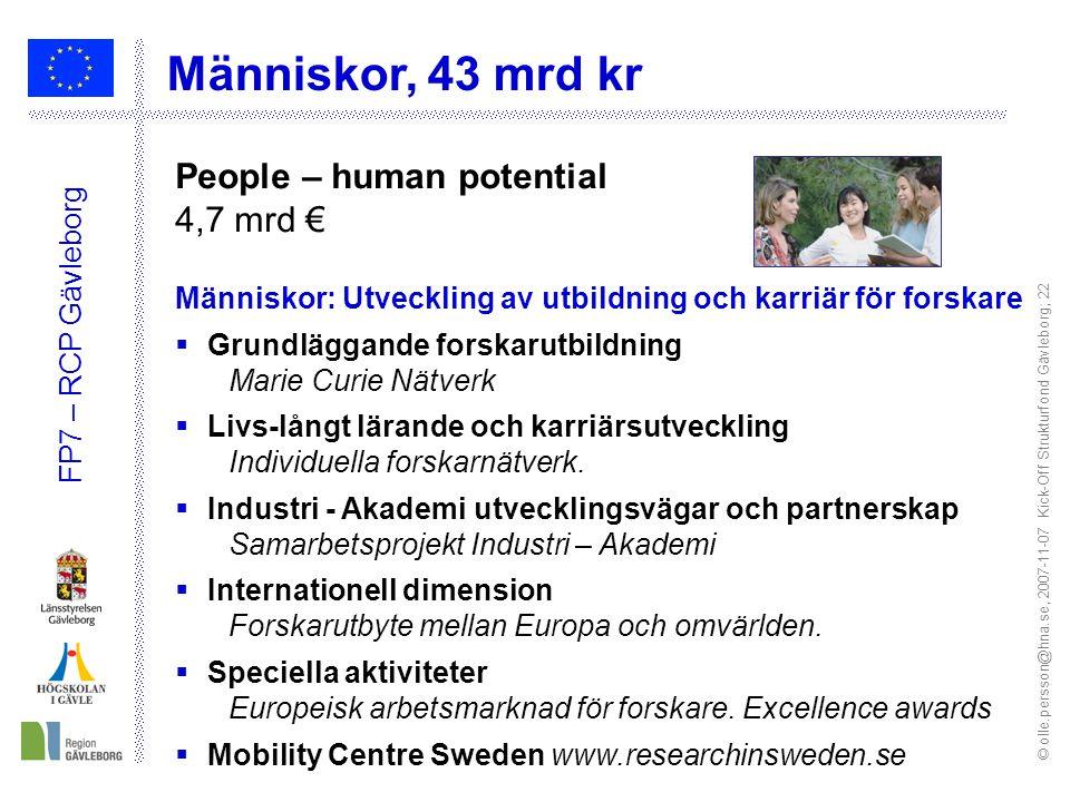 © olle.persson@hna.se, 2007-11-07 Kick-Off Strukturfond Gävleborg; 22 FP7 – RCP Gävleborg Människor, 43 mrd kr People – human potential 4,7 mrd € Människor: Utveckling av utbildning och karriär för forskare  Grundläggande forskarutbildning Marie Curie Nätverk  Livs-långt lärande och karriärsutveckling Individuella forskarnätverk.