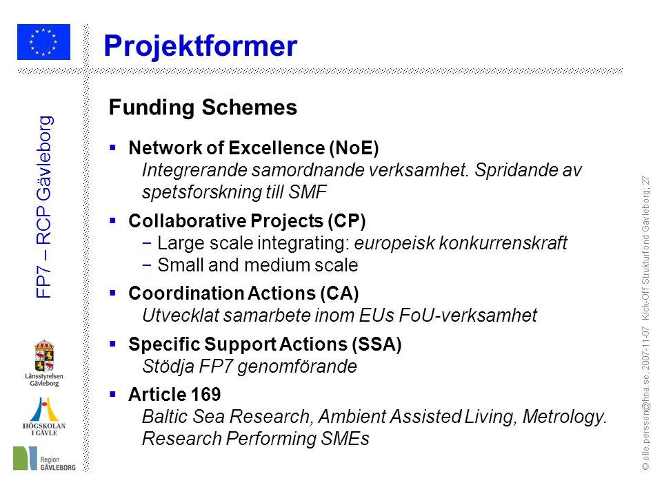 © olle.persson@hna.se, 2007-11-07 Kick-Off Strukturfond Gävleborg; 27 FP7 – RCP Gävleborg Projektformer Funding Schemes  Network of Excellence (NoE) Integrerande samordnande verksamhet.