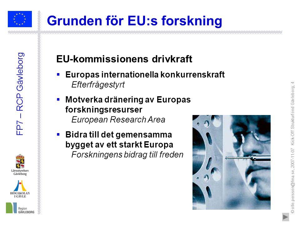 © olle.persson@hna.se, 2007-11-07 Kick-Off Strukturfond Gävleborg; 4 FP7 – RCP Gävleborg EU-kommissionens drivkraft  Europas internationella konkurre