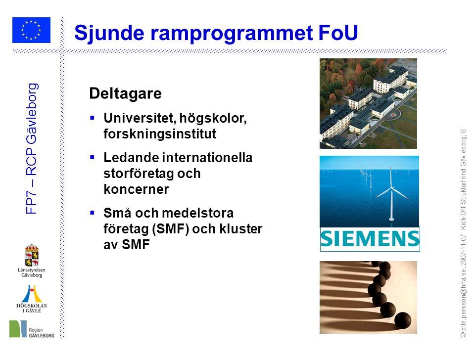 © olle.persson@hna.se, 2007-11-07 Kick-Off Strukturfond Gävleborg; 8 FP7 – RCP Gävleborg Deltagare  Universitet, högskolor, forskningsinstitut  Leda