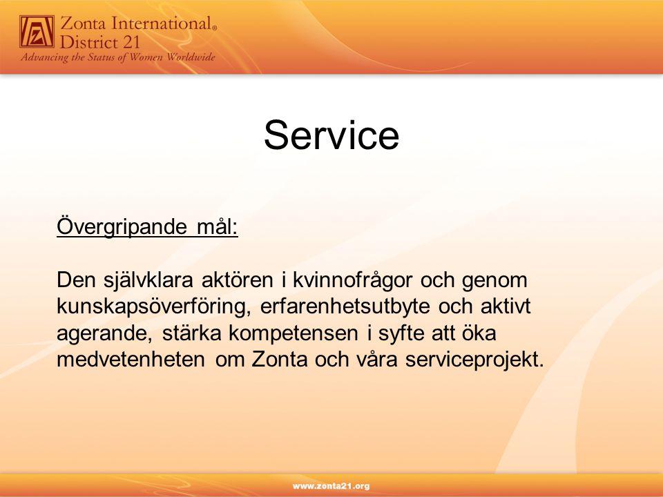 Service Övergripande mål: Den självklara aktören i kvinnofrågor och genom kunskapsöverföring, erfarenhetsutbyte och aktivt agerande, stärka kompetensen i syfte att öka medvetenheten om Zonta och våra serviceprojekt.