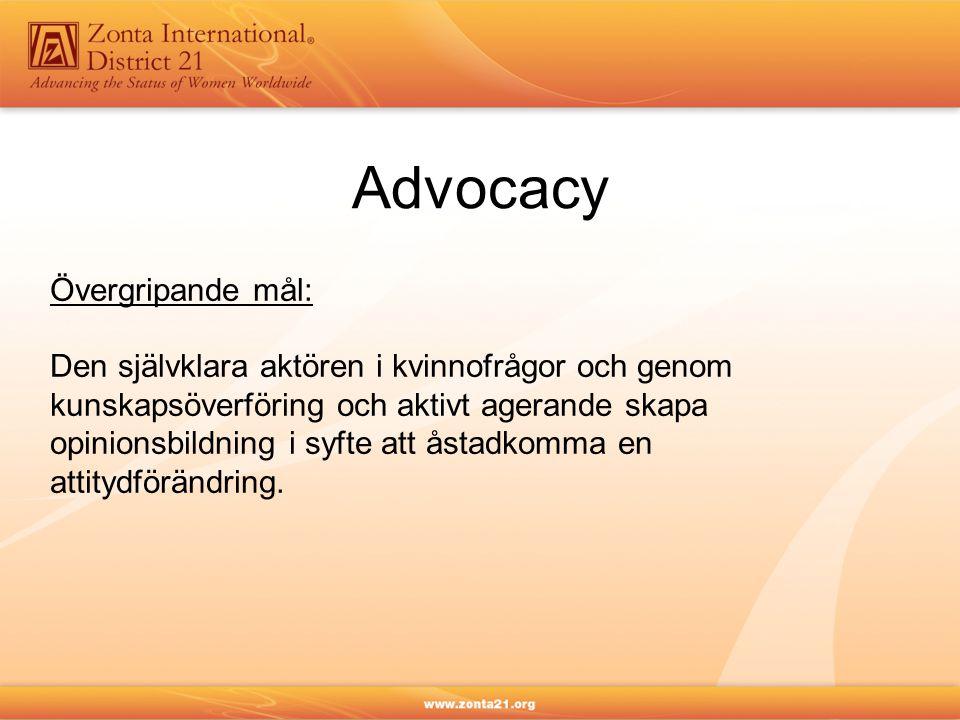 Advocacy Övergripande mål: Den självklara aktören i kvinnofrågor och genom kunskapsöverföring och aktivt agerande skapa opinionsbildning i syfte att å