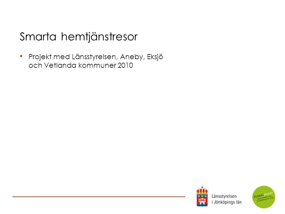 Smarta hemtjänstresor Projekt med Länsstyrelsen, Aneby, Eksjö och Vetlanda kommuner 2010