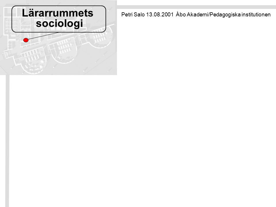 Lärarrummets sociologi Petri Salo 13.08.2001 Åbo Akademi/Pedagogiska institutionen
