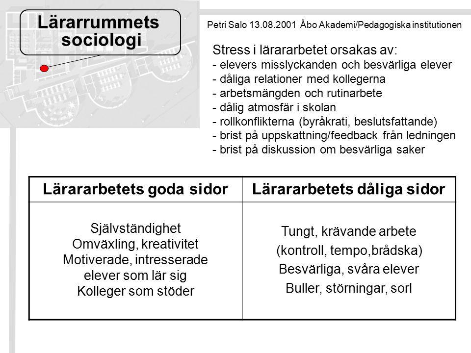 Lärarrummets sociologi Petri Salo 13.08.2001 Åbo Akademi/Pedagogiska institutionen Lärararbetets goda sidorLärararbetets dåliga sidor Självständighet Omväxling, kreativitet Motiverade, intresserade elever som lär sig Kolleger som stöder Tungt, krävande arbete (kontroll, tempo,brådska) Besvärliga, svåra elever Buller, störningar, sorl Stress i lärararbetet orsakas av: - elevers misslyckanden och besvärliga elever - dåliga relationer med kollegerna - arbetsmängden och rutinarbete - dålig atmosfär i skolan - rollkonflikterna (byråkrati, beslutsfattande) - brist på uppskattning/feedback från ledningen - brist på diskussion om besvärliga saker