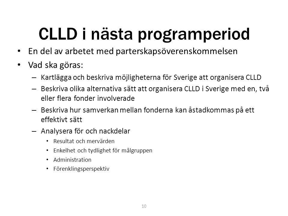 CLLD i nästa programperiod En del av arbetet med parterskapsöverenskommelsen Vad ska göras: – Kartlägga och beskriva möjligheterna för Sverige att org