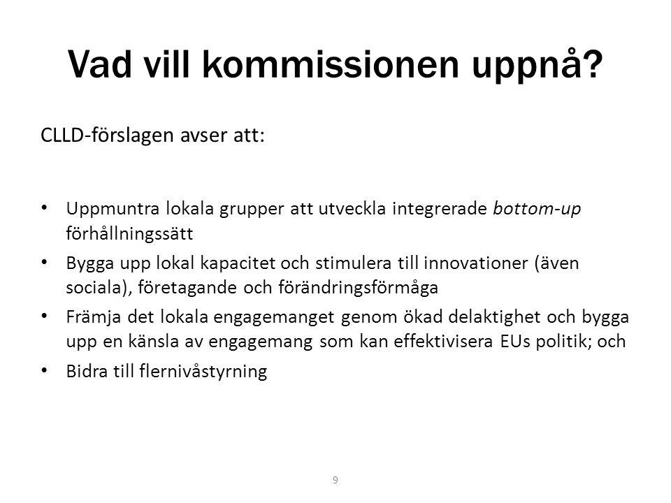 Vad vill kommissionen uppnå? CLLD-förslagen avser att: Uppmuntra lokala grupper att utveckla integrerade bottom-up förhållningssätt Bygga upp lokal ka