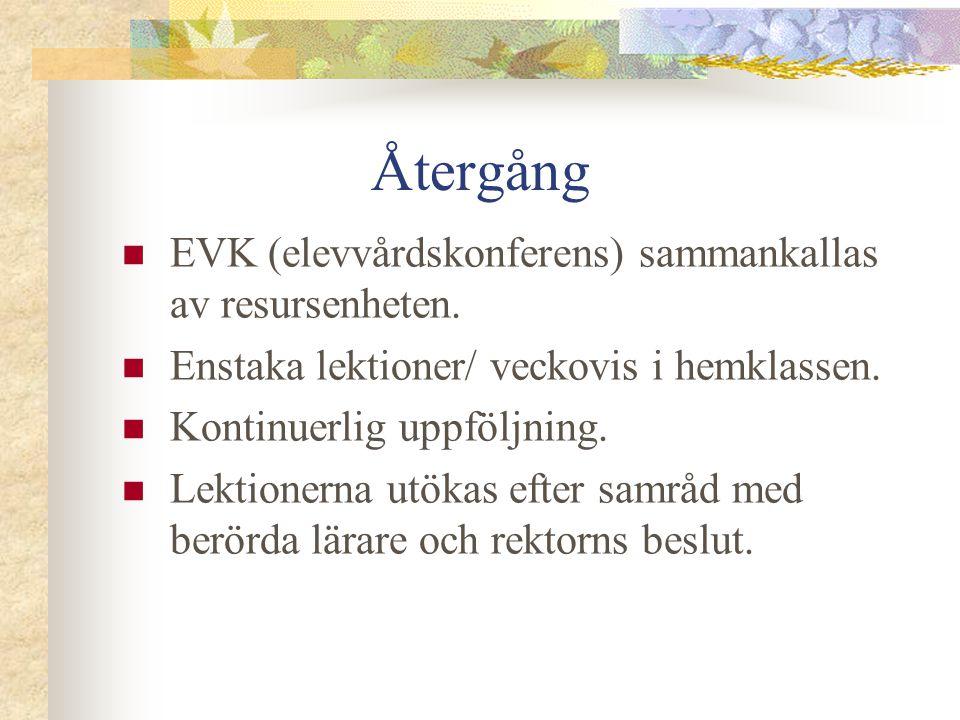 Återgång EVK (elevvårdskonferens) sammankallas av resursenheten.