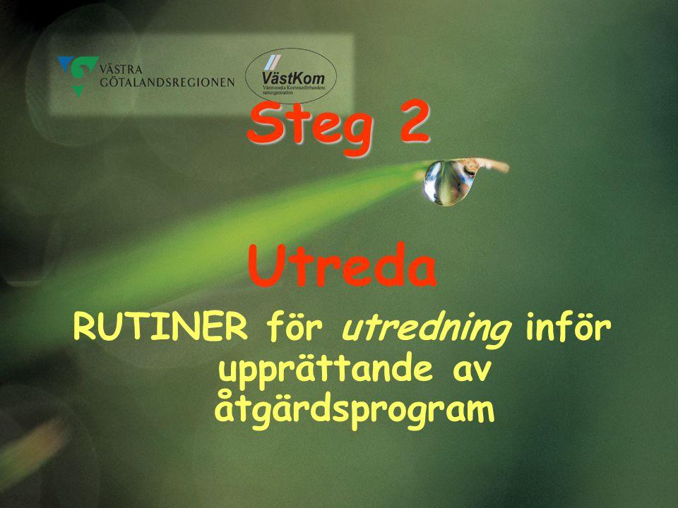 Steg 2 Utreda RUTINER för utredning inför upprättande av åtgärdsprogram