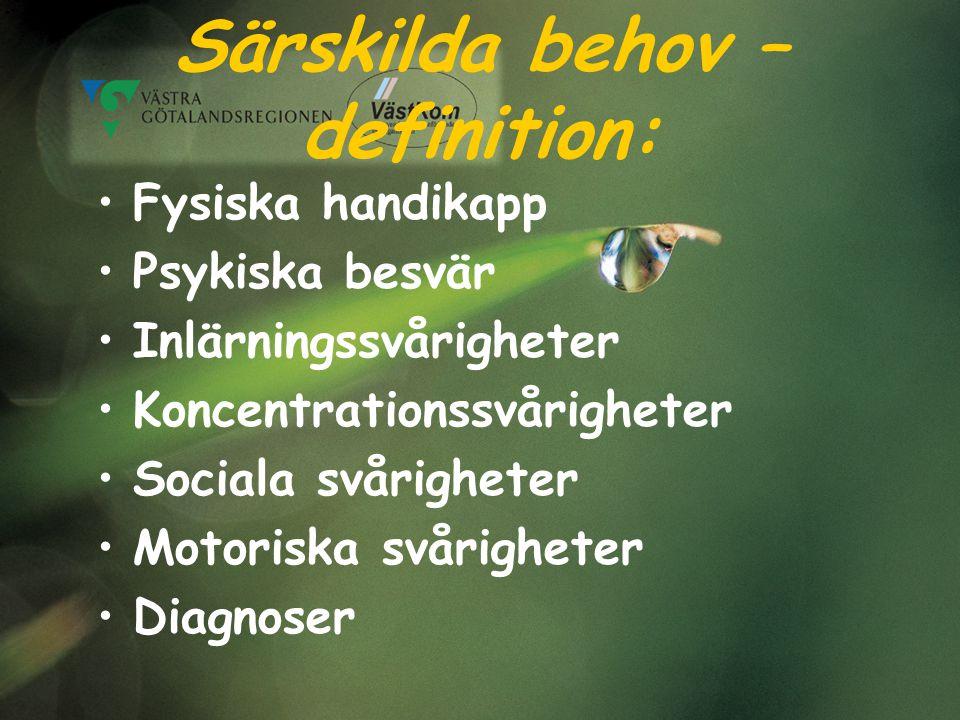 Särskilda behov – definition: Fysiska handikapp Psykiska besvär Inlärningssvårigheter Koncentrationssvårigheter Sociala svårigheter Motoriska svårighe