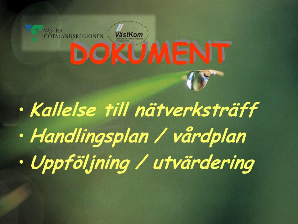 DOKUMENT Kallelse till nätverksträff Handlingsplan / vårdplan Uppföljning / utvärdering