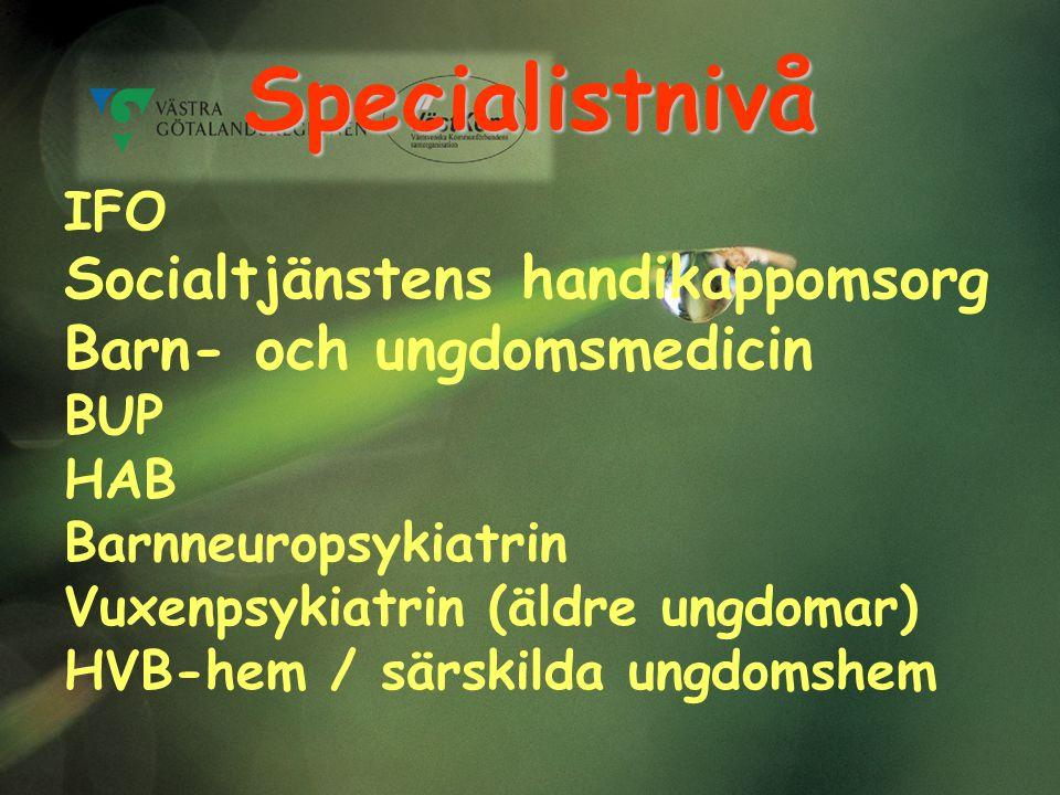 Specialistnivå IFO Socialtjänstens handikappomsorg Barn- och ungdomsmedicin BUP HAB Barnneuropsykiatrin Vuxenpsykiatrin (äldre ungdomar) HVB-hem / sär