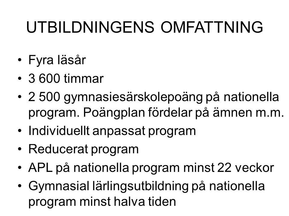 UTBILDNINGENS OMFATTNING Fyra läsår 3 600 timmar 2 500 gymnasiesärskolepoäng på nationella program. Poängplan fördelar på ämnen m.m. Individuellt anpa