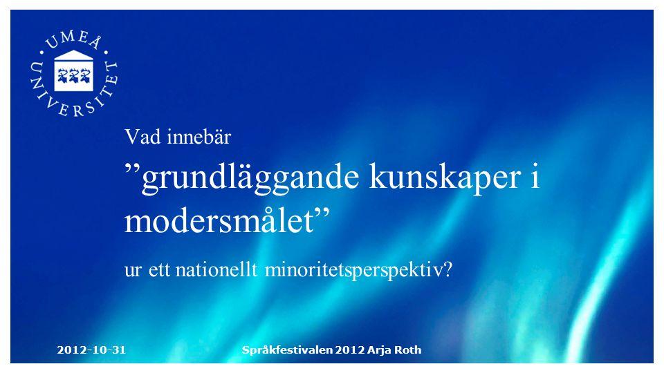 Vad innebär grundläggande kunskaper i modersmålet ur ett nationellt minoritetsperspektiv.
