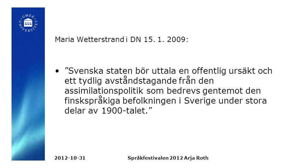 Maria Wetterstrand i DN 15.1.