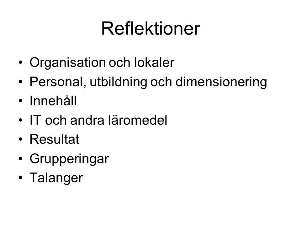 Reflektioner Organisation och lokaler Personal, utbildning och dimensionering Innehåll IT och andra läromedel Resultat Grupperingar Talanger