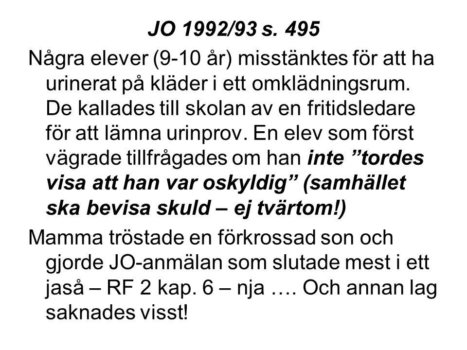 JO 1992/93 s. 495 Några elever (9-10 år) misstänktes för att ha urinerat på kläder i ett omklädningsrum. De kallades till skolan av en fritidsledare f