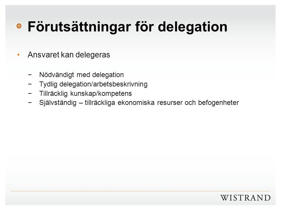 Förutsättningar för delegation Ansvaret kan delegeras −Nödvändigt med delegation −Tydlig delegation/arbetsbeskrivning −Tillräcklig kunskap/kompetens −