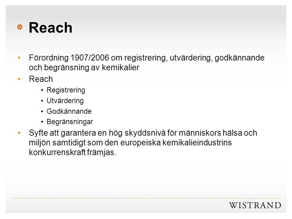 Reach Förordning 1907/2006 om registrering, utvärdering, godkännande och begränsning av kemikalier Reach Registrering Utvärdering Godkännande Begränsn