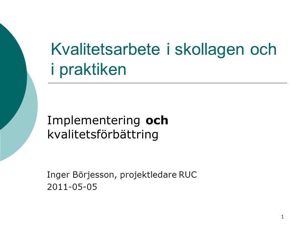 Kvalitetsarbete i skollagen och i praktiken Implementering och kvalitetsförbättring Inger Börjesson, projektledare RUC 2011-05-05 1