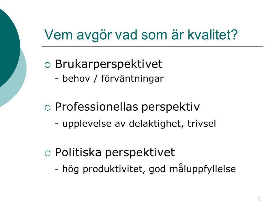 Vem avgör vad som är kvalitet?  Brukarperspektivet - behov / förväntningar  Professionellas perspektiv - upplevelse av delaktighet, trivsel  Politi