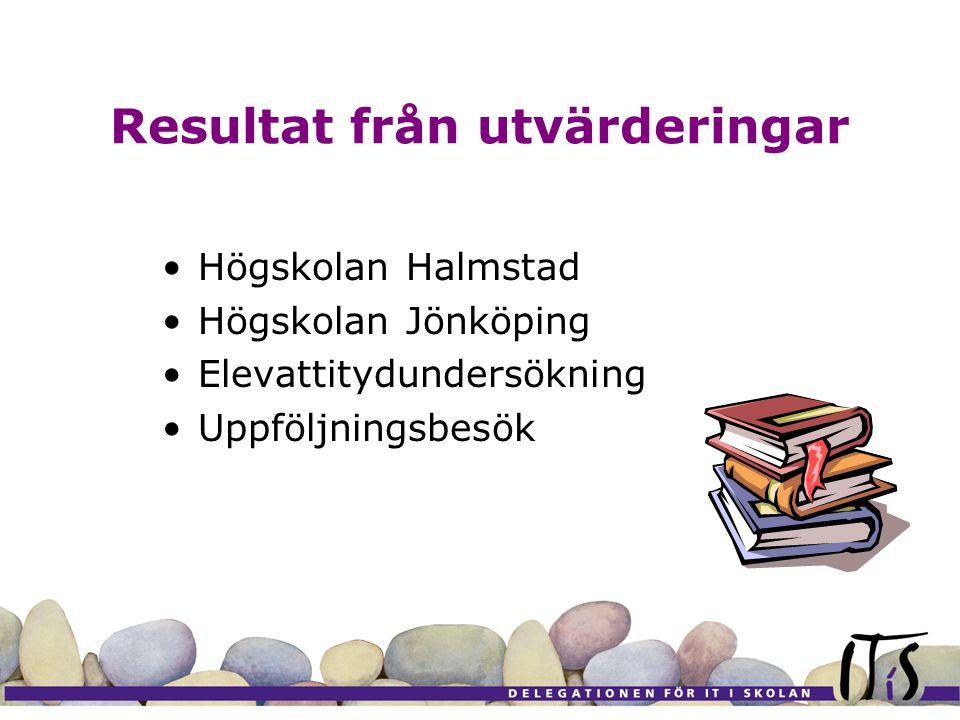 Resultat från utvärderingar Högskolan Halmstad Högskolan Jönköping Elevattitydundersökning Uppföljningsbesök