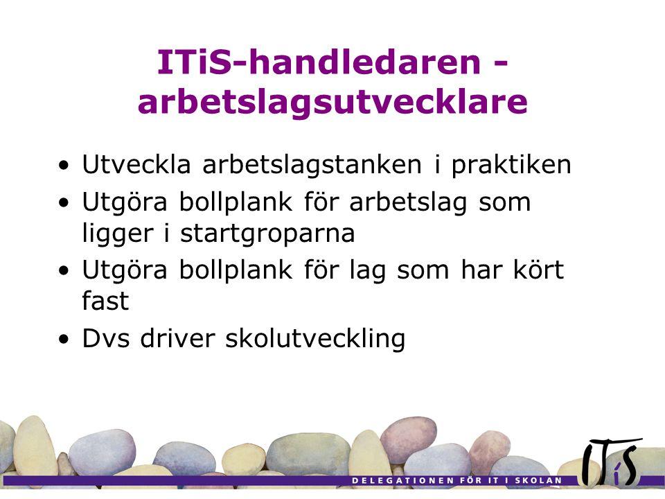 ITiS-handledaren - arbetslagsutvecklare Utveckla arbetslagstanken i praktiken Utgöra bollplank för arbetslag som ligger i startgroparna Utgöra bollpla